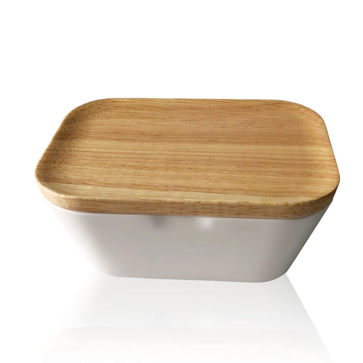 Lependor Melamine Container Butter Dish with Wooden Lid Perfect For East/West Butter - with Wooden Lid