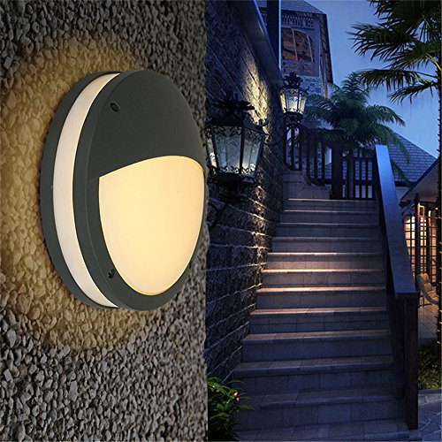 ound led aluminum waterproof and dustproof simple fashion round outdoor wall lamp, ¢ 235 H60mm ()