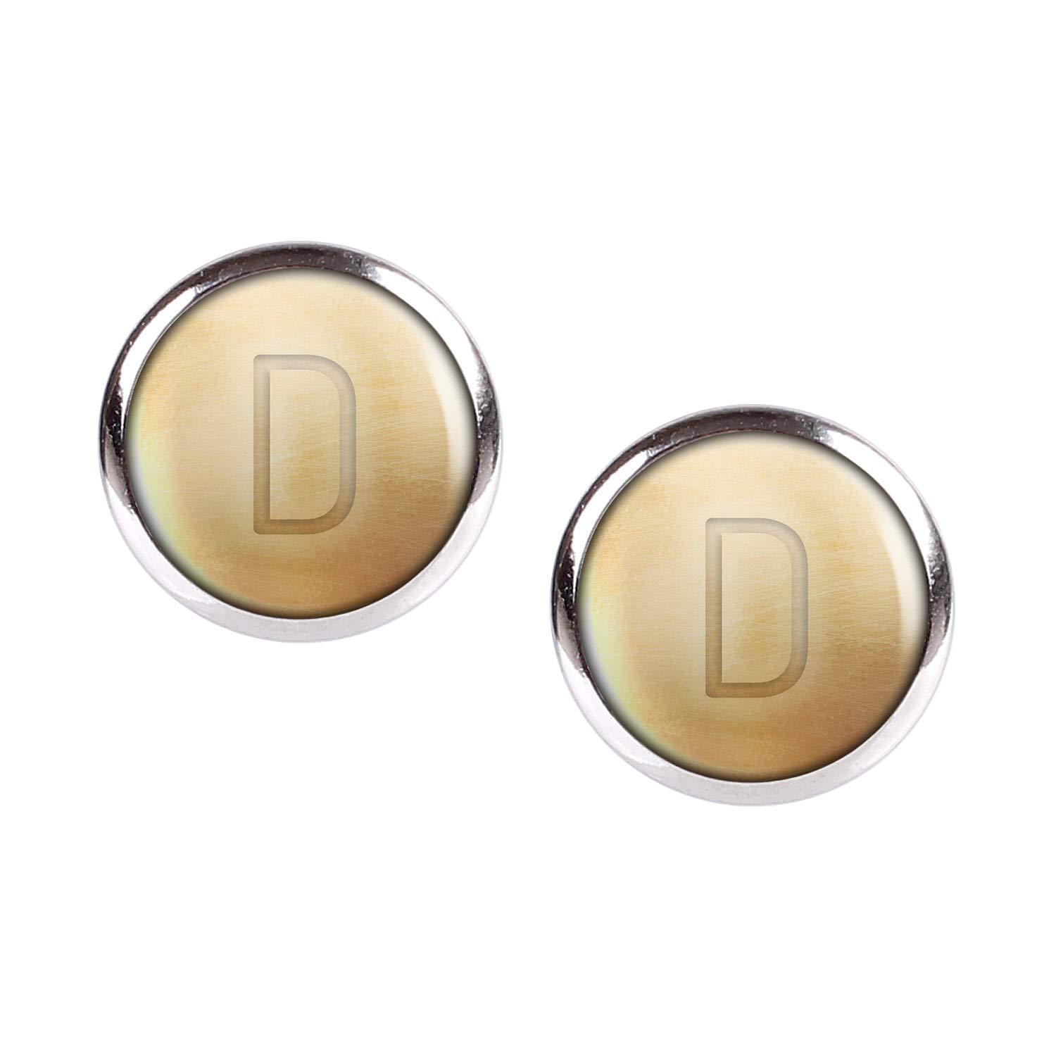Stud Earring Pair with Cabochon Picture Letters chain letter D silver different sizes