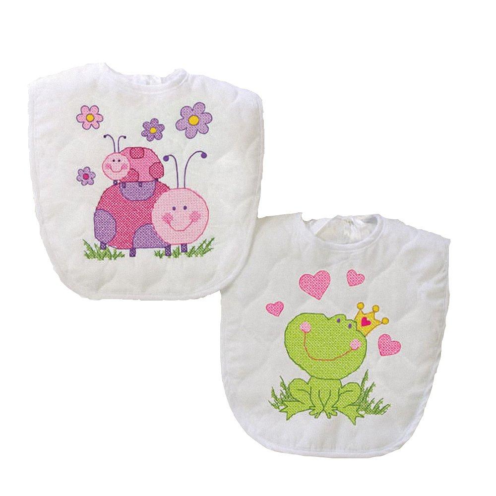 "Dimensions Baby Hugs Fairy Bibs Stamped Cross Stitch Kit-9x14"" Set Of 2 70-73542"