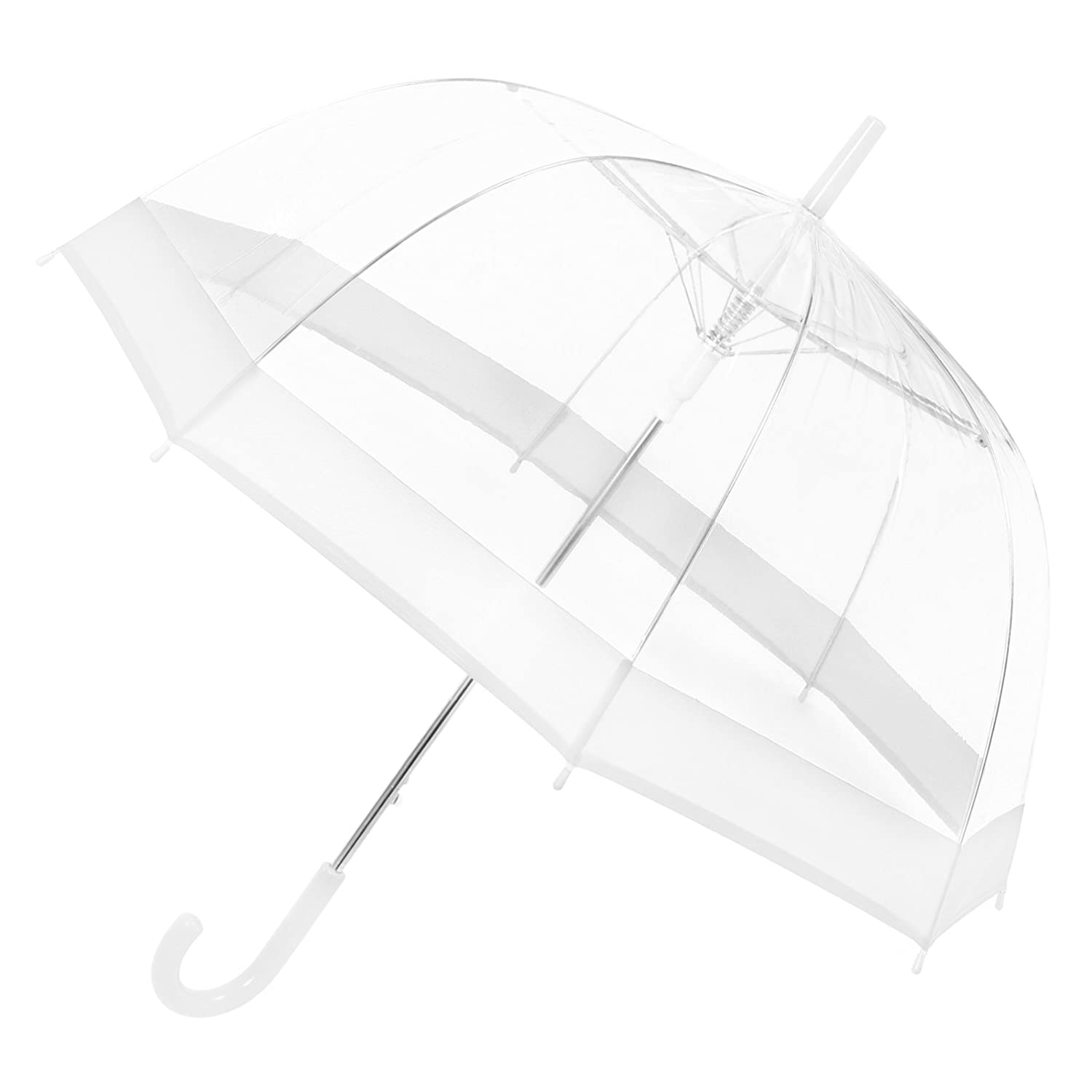 ASAB Clear Dome See Through Umbrella - Windproof Automatic - Strong, Lightweight, Transparent, Waterproof - (White)