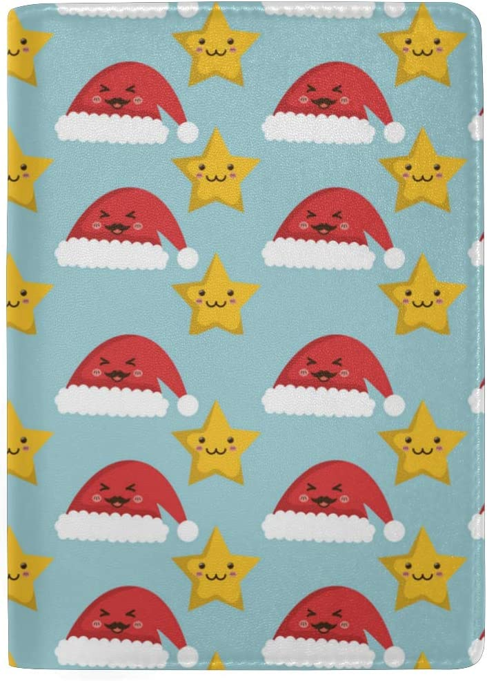 Baby Christmas Hat Gold Star Leather Passport Holder Cover Case Blocking Travel Wallet