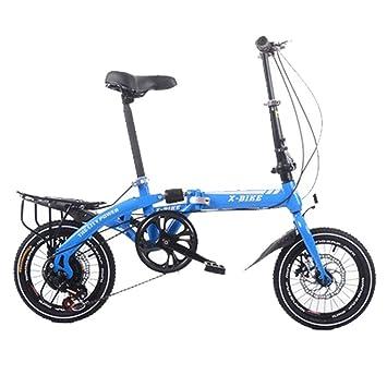 LETFF Bicicleta Plegable para Adultos De 16 Pulgadas para Hombres Y Mujeres Velocidad Variable Bicicleta De