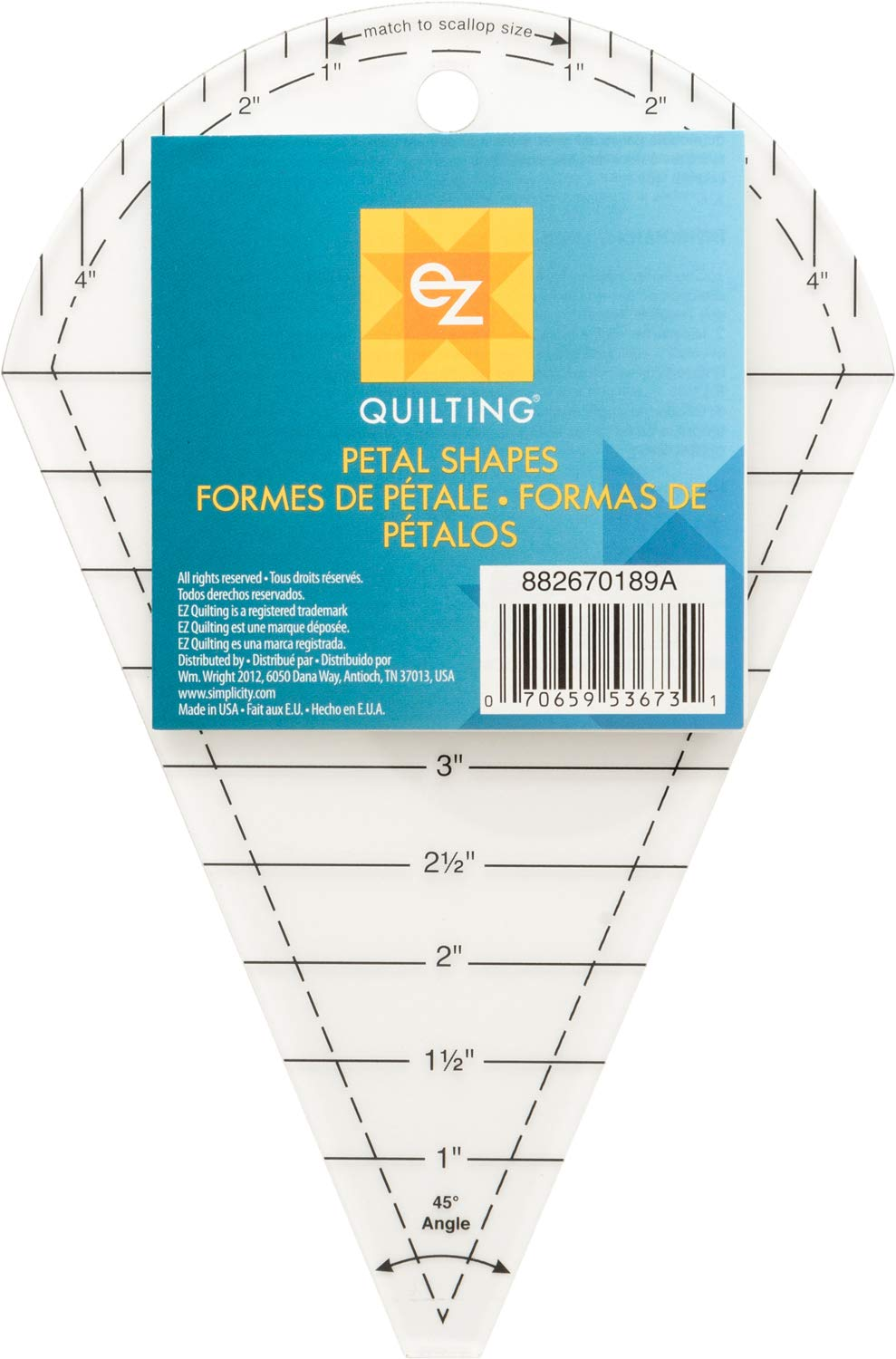 EZ Quilting Petal Shapes Acrylic Template Quilting Simplicity