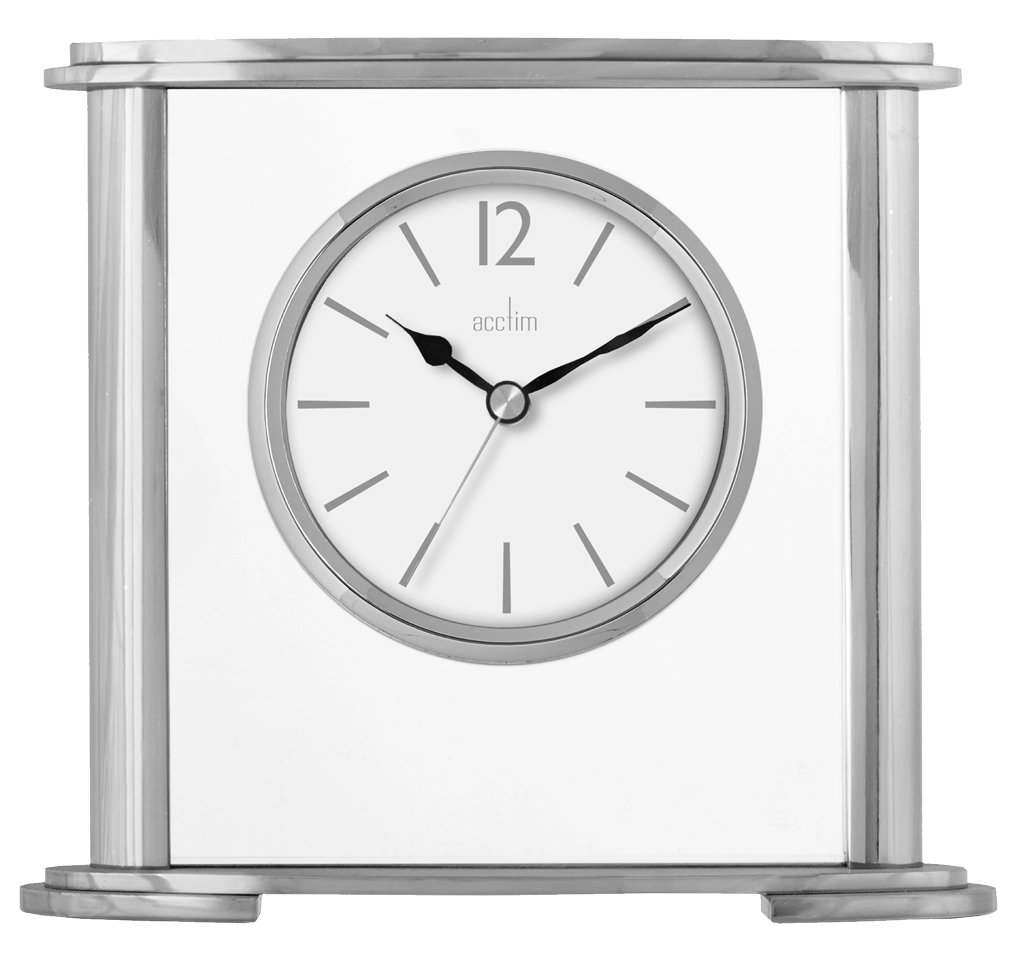 Acctim 36957 Colston Metal and Glass Table Clock in Silver
