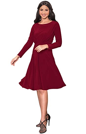 Koh Koh Long Sleeve Semi Formal Flowy Party Work Knee Length Midi