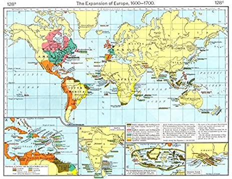 EUROPEAN COLONISATION. 17C Guyana West Indies India Indonesia Guinea   1956    Old Map
