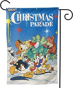 """Garden Flag,Merry Christmas Donald Duck Double Sided Outdoor Flag House Banner for Yard Home Decor 28""""X40"""" Inch Outdoor Deco"""