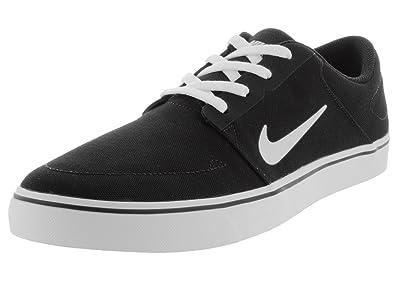 NIKE Men's SB Portmore CNVS Black/White Skate Shoe 7 Men US