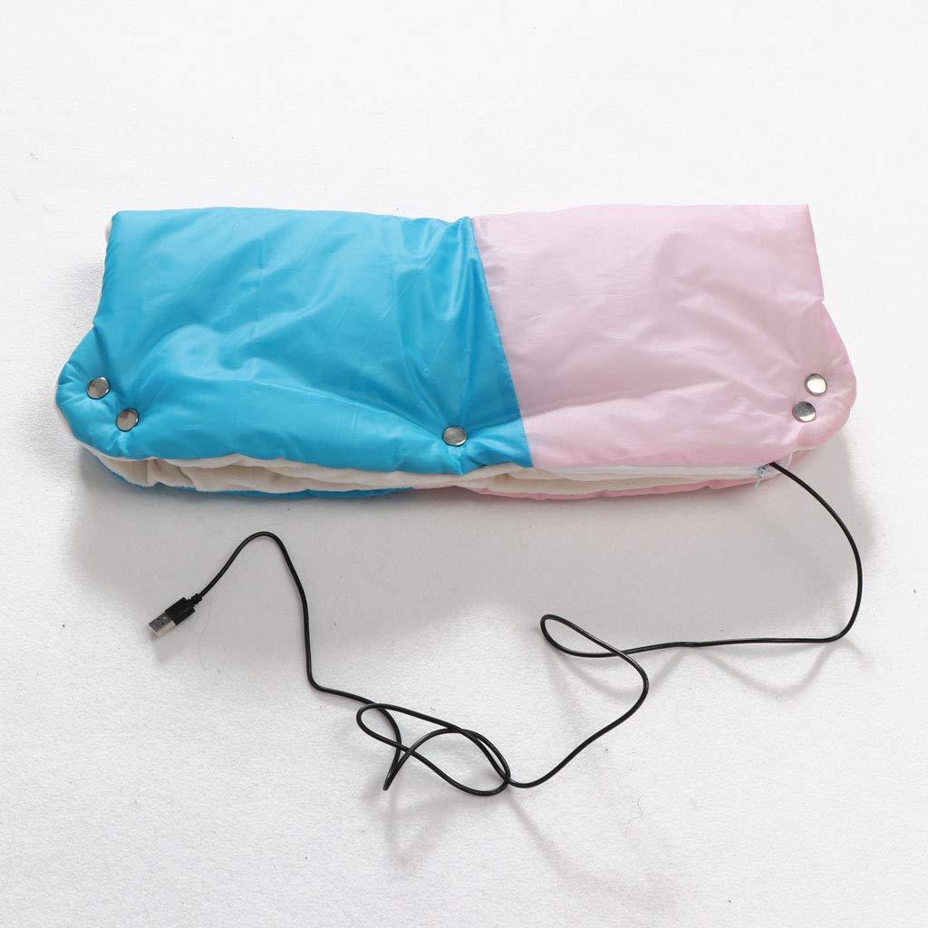 Fxikun Accessoire Poussette Gants Hiver Prot/ège Doux Chaud Coupe-Vent Et Imperm/éable Gant avec USB Chauffage