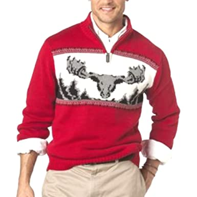 0584170e533f Chaps Mens Classic Fit Mockneck 1 4 Zip Sweater Moose Nordic Fashion ...