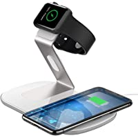 Fast Wireless Charger 2 in 1, PICTEK Wireless Charging Pad & Watch Charging Stand for all Apple Watch Series 4/3/2/1, 7.5W for iPhone X/XS/XR/XS Max/8/8Plus, 10W Fast charger for Samsung S9/S9+/S8/S8+ and Standard Charge for all Devices (No AC Adapter)