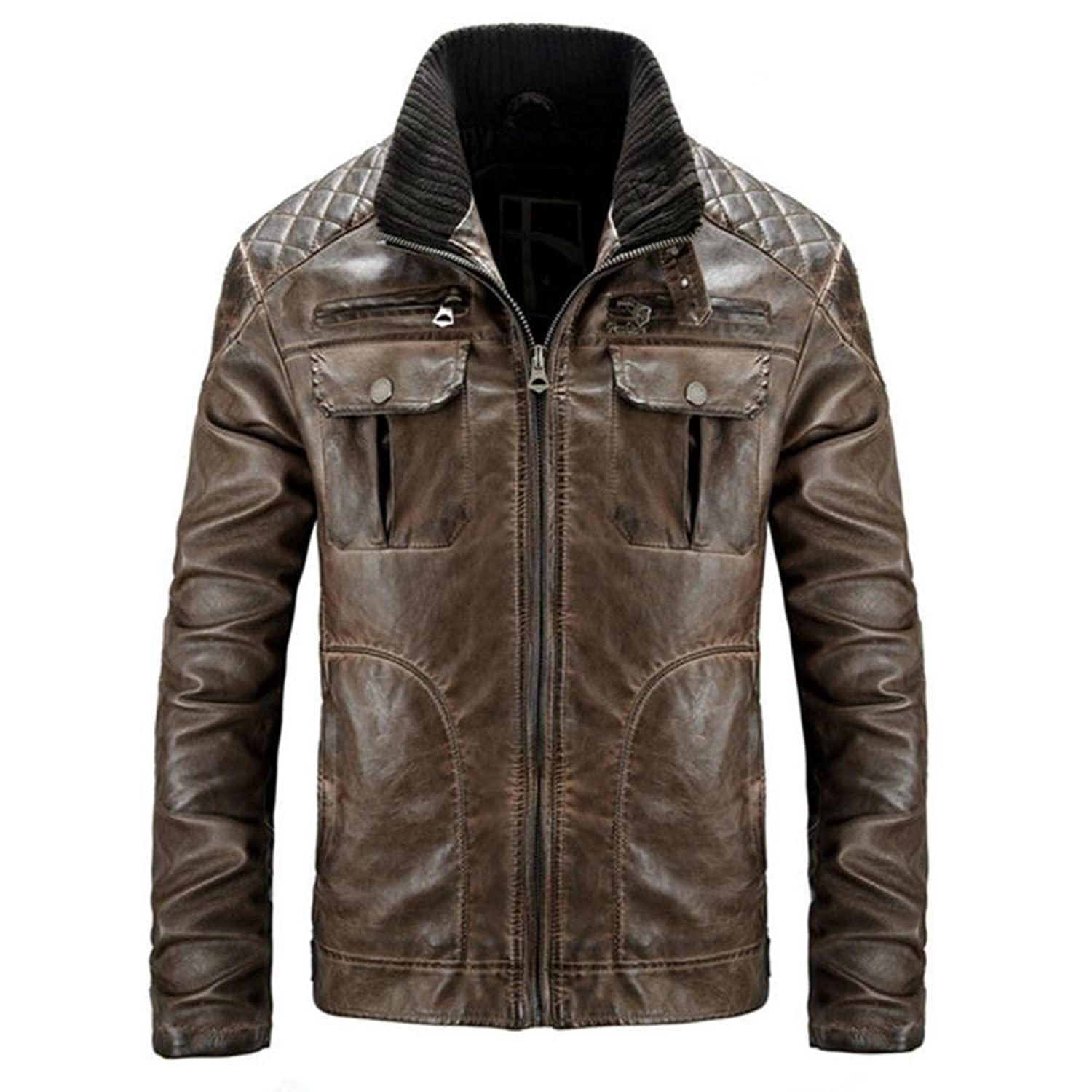 Hzcx Fashion Mens washed vintage stand collar zipper closure faux leather jacket