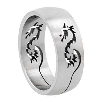 Surgical Stainless Steel 8mm Dragon Wedding Band Ring Domed Cutout