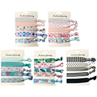 Frcolor Stretch Hair Ties Elastic Hair Ponytail Holders Knot Hair Band Hair Accessories for Girl Women 25 Pcs (Pattern 1 to Pattern 5)