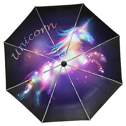 Amazon.com: Wamika Galaxy Unicorn - Paraguas de viaje con ...
