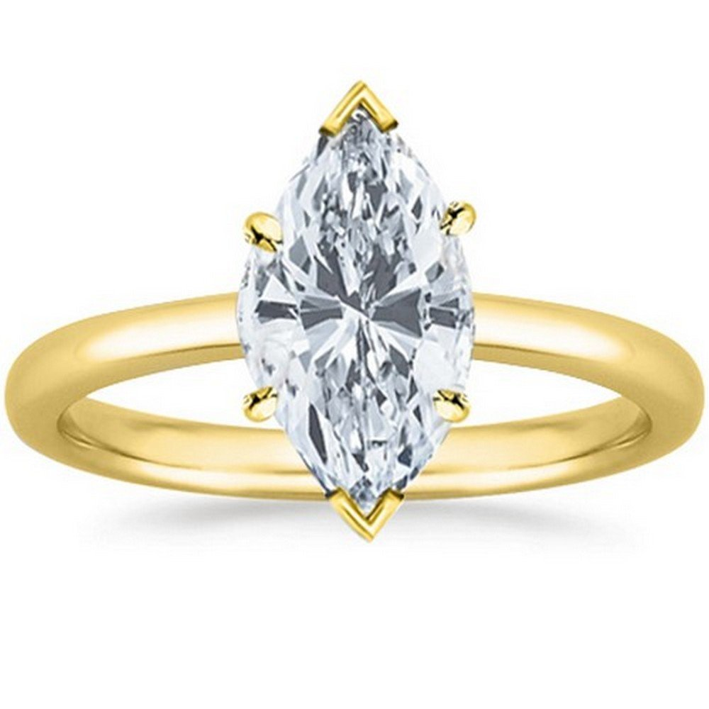 14K Yellow Gold Marquise Cut Solitaire Diamond Engagement Ring (1 Carat G-H Color VS2 Clarity)