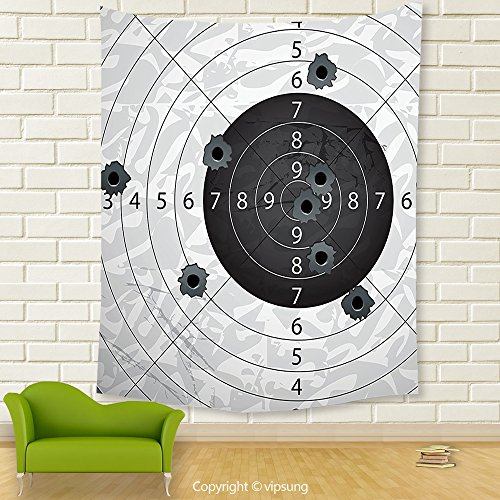 Vipsung House Decor Tapestry_Military Decor Gun Bullet Holes On Paper Target Army Weapon Danger Violence Themed Image Charcoal Grey_Wall Hanging For Bedroom Living Room Dorm