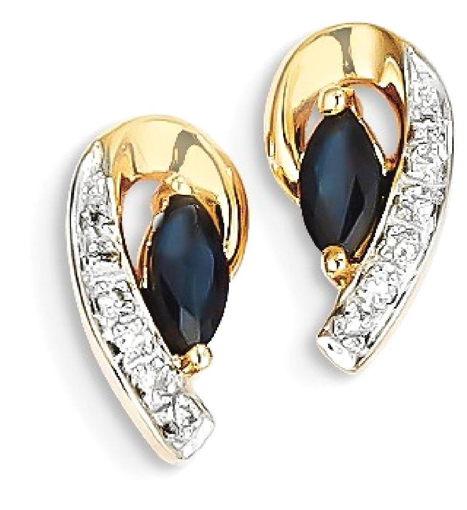 ICE CARATS 14k Yellow Gold Diamond Sapphire Post Stud Ball Button Earrings Fine Jewelry Gift Set For Women Heart