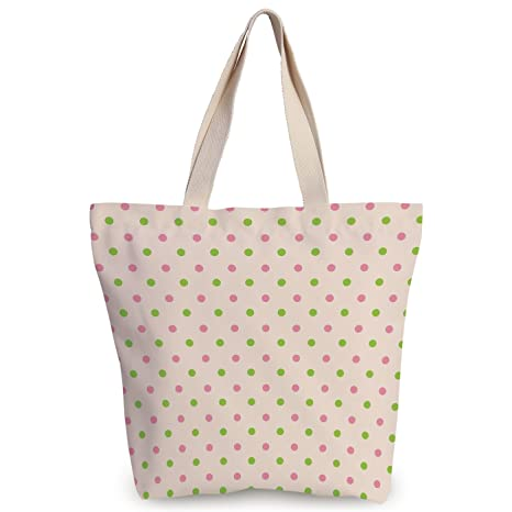 4347ef4b4 iPrint Funky Canvas Tote Bag,Polka Dots,Pastel Color Polka Dots Highbrow  Style Female