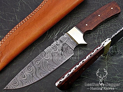 (Leather-n-Dagger By Professional Custom Handmade Damascus Steel Model-Year 2015 Bowie 11