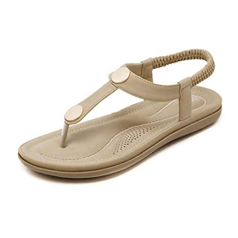 b4e3b78fb1530d Women Sandals Fashion Woman Summer Beach Sandals Metal Plus Size Women Shoes  Apricot 4.5
