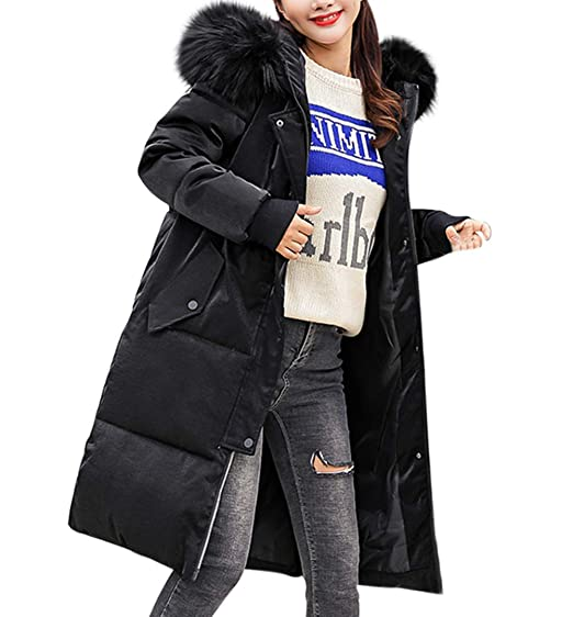 066e3dc0d59 Lazzboy Womens Coat Parka Winter Quilted Cotton-Padded Faux Fur Hooded  Plain Warm Puffer Long
