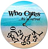 Lionkin8 12″ WHO CARES WE'RE RETIRED FUNNY CLOCK – BLUE BEACH PARADISE CLOCK – Large 12″ Wall Clock – Home Decor Clock Review
