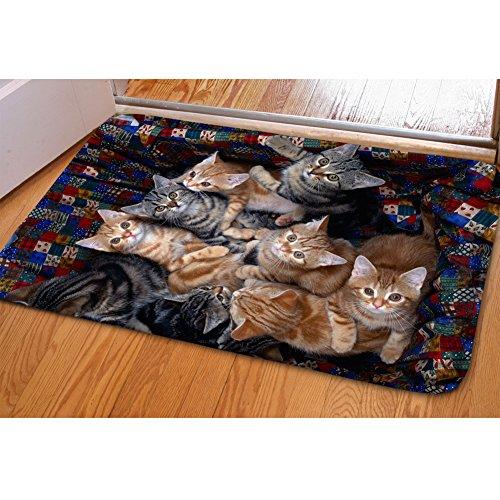 HUGSIDEA Modern Cute Cats Printed Decor Door Mat Entrance Indoor Floor Mat For Bedroom Living Room Kitchen Bathroom