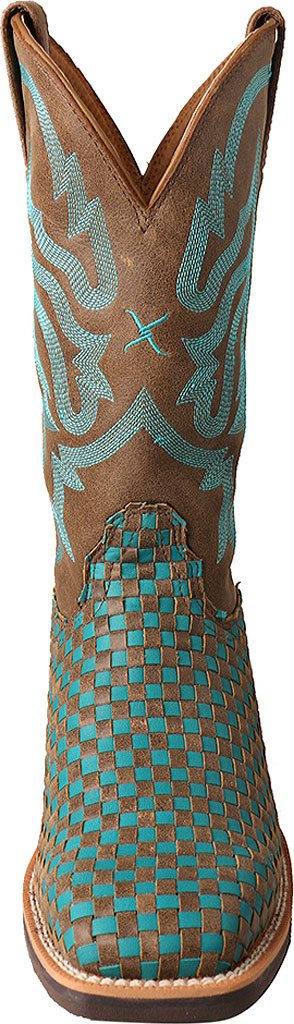 Twisted X Women's Turquoise Boot Basketweave Top Hand Cowgirl Boot Turquoise Square Toe - Wth0011 B01LXZOXZF 11 B(M) US|Brown 05055f
