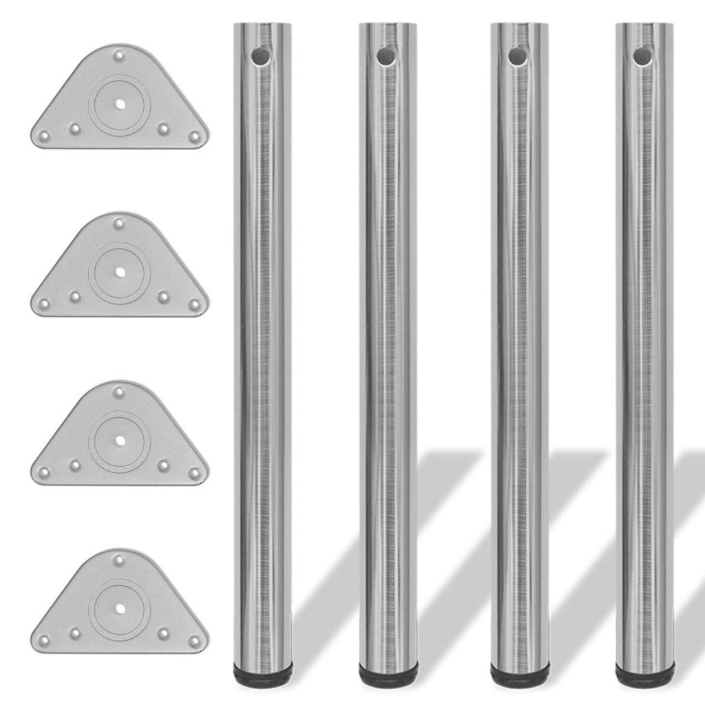 vidaXL 4 Pieds de table Chrome /à hauteur r/églable 1100 mm
