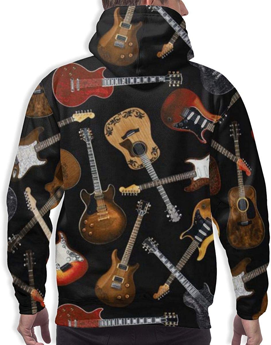 Funny Cool Outwear Guitars GUAHUAXIANG Pullover Hooded Sweatshirts for Mens