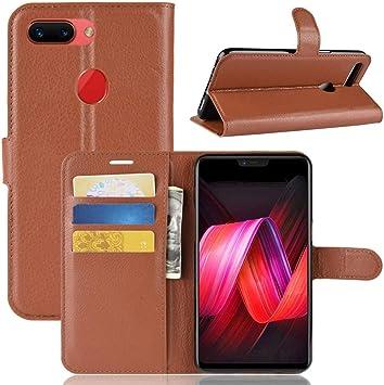 FOR Teng Lin TL Litchi Textura Horizontal Flip Funda de Cuero for OPPO R15 Pro, la Carpeta y el Soporte y Las Ranuras for Tarjeta (Negro) Carcasa de telefono (Color : Brown):