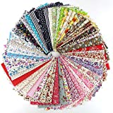 RayLineDo 60 Pcs Fabric Cotton 100% Printed Boundle Patchwork Squares of 20*25cm