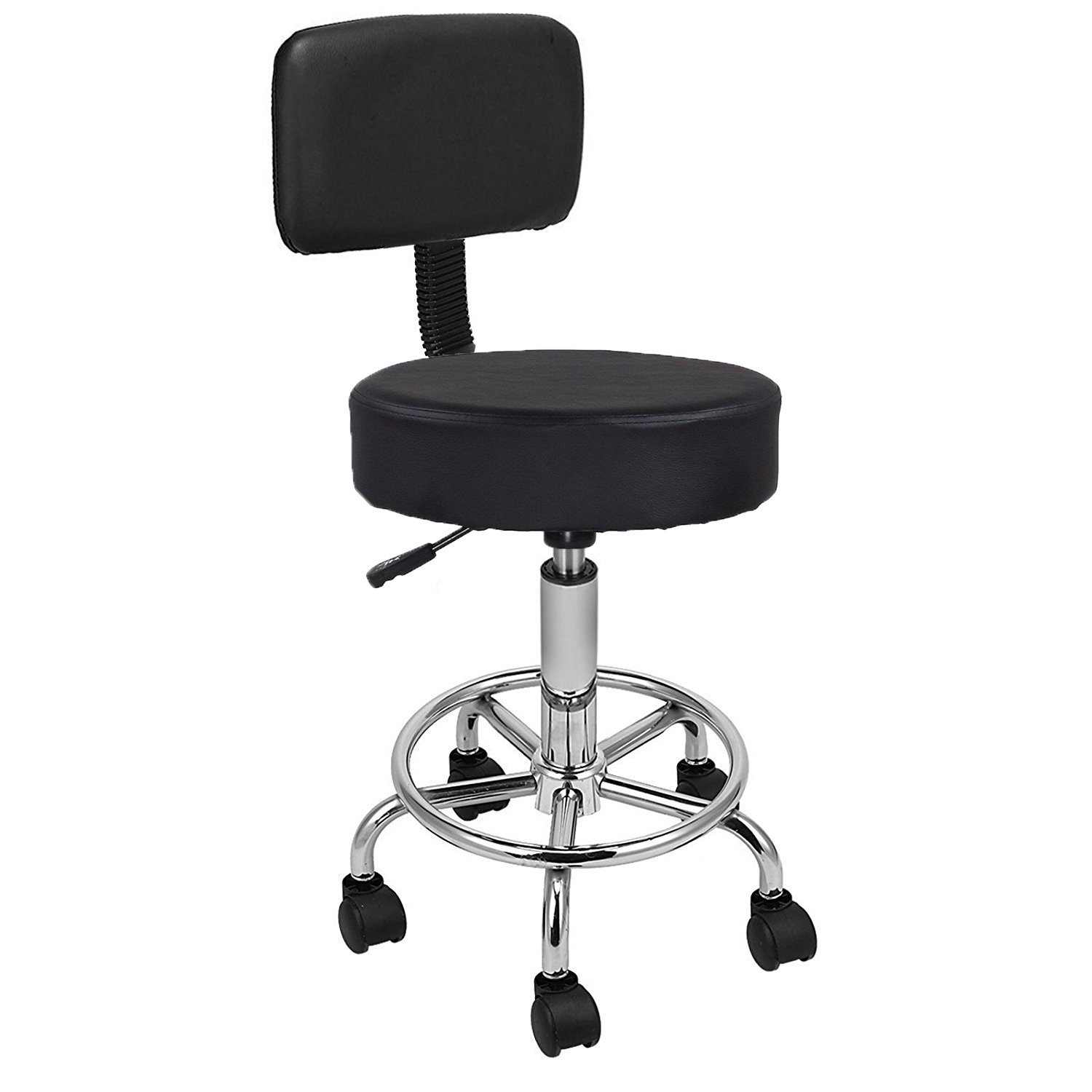 Display4top Black Adjustable Rolling Cushion Tattoo Massage Hydraulic Salon Stool with Back,5 Locking Wheels (Stainless_Steel) 1100023