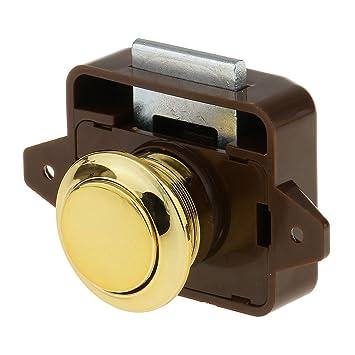 MagiDeal Push Button Catch Lock Cupboard Door Knob Campervan Caravan  Motorhome Brown