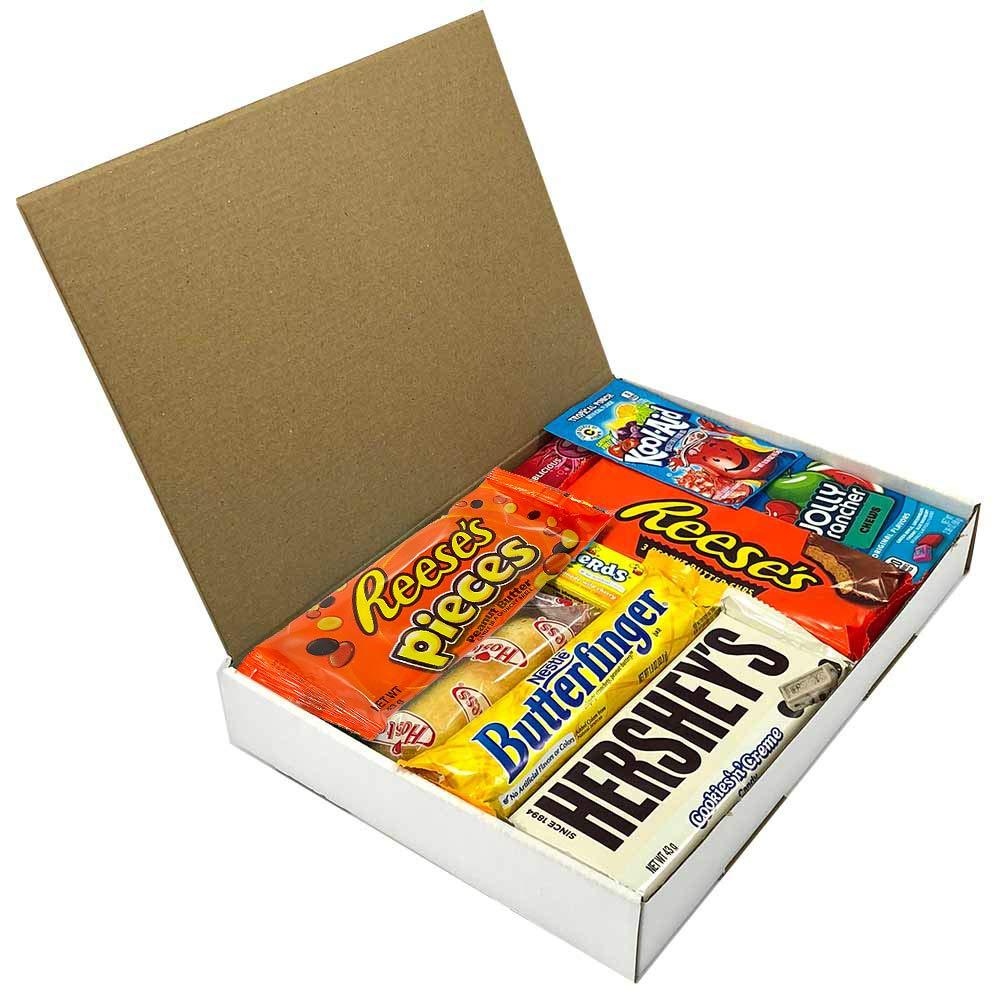 Cesta con American Candy   Caja de caramelos y Chucherias Americanas   Surtido de 19 artículos incluido Hersheys Reeses Jelly Belly Jolly Rancher ...