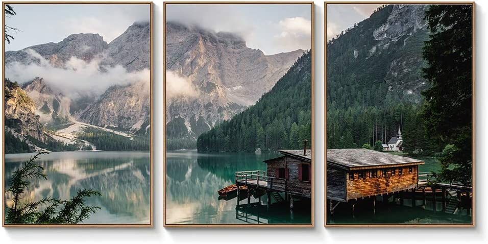 "wall26 Floating Framed Canvas Wall Art for Living Room, Bedroom Landscape Gorge Mountain River Grassland Canvas Prints for Home Decoration Ready to Hang - 24""x36""x3 Panels"