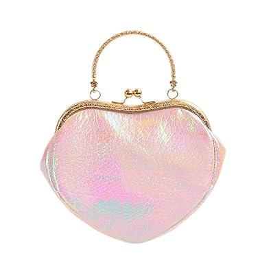 Amazon.com: Rosa bolso de piel holográfico piel sintética ...