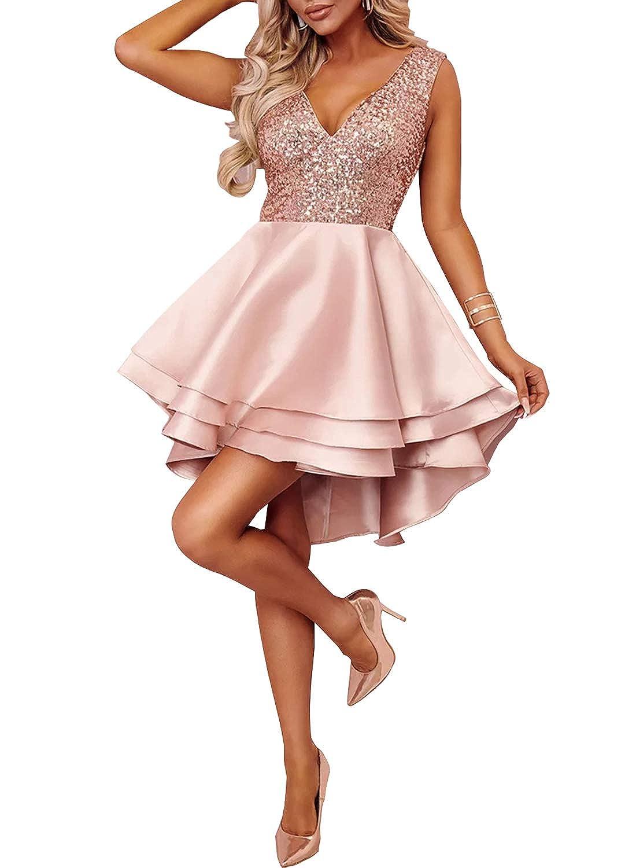 327bdb3baf0816 70%OFF Ancapelion Damen Kleid Sexy V-Ausschnitt Mini Kleider mit Glänzend  ärmellose Pailletten