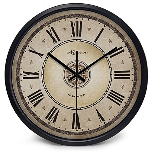 intage Rome Non Ticking Silent European Wall Clock(10inch, Black) ()