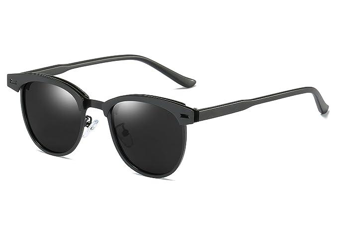 3d76621a6d69 FEISEDY Classic Polarized Half Frame Sunglasses Men Women B2250  (Black Gray