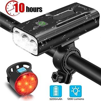 Juego de luces para bicicleta recargables, 5200 mAh, USB, superbrillantes, 3 modos de luces LED delanteras