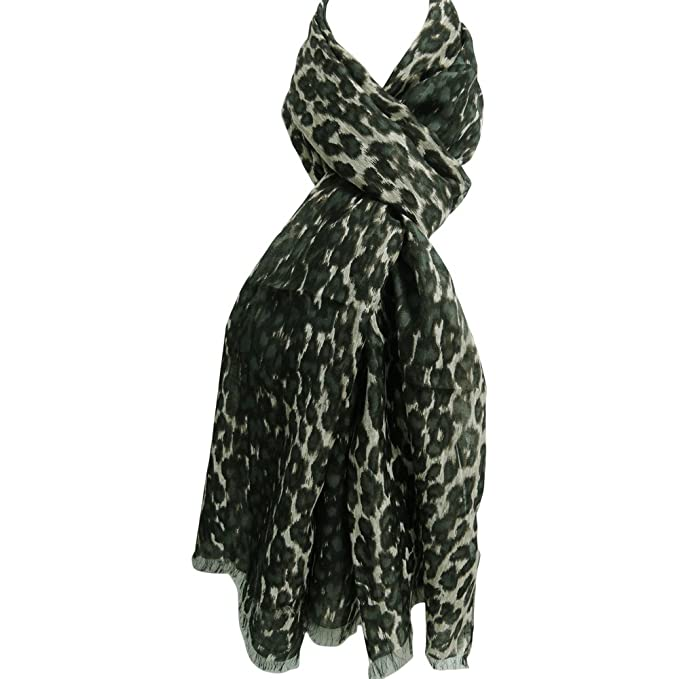 493aa79c0 Black Beige Green Leopard Animal Print Indian Long Scarf Stole Wrap ...
