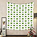 Gzhihine Custom tapestry Floral Tapestry Clover Flowers Green Dots Cultural Irish St. Patricks Day Pattern for Bedroom Living Room Dorm Lime Green Dark Green White