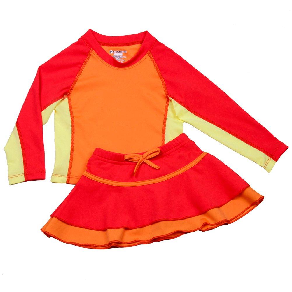 Nozone Girls Ruffled Sun Protective Two-Piece Swim Skirt Set - UPF 50+ 6065