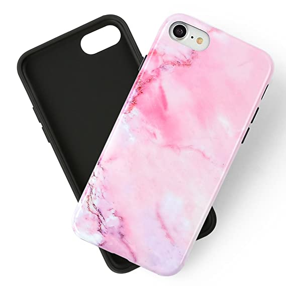 huge selection of 520a9 51cc9 iPhone 7 Case for Women Marble iPhone 8 Case,Girly Slim Clear Glossy  Flexible Rubber Silicone Soft TPU Anti Scratch Protective Phone Cases for  2017 ...