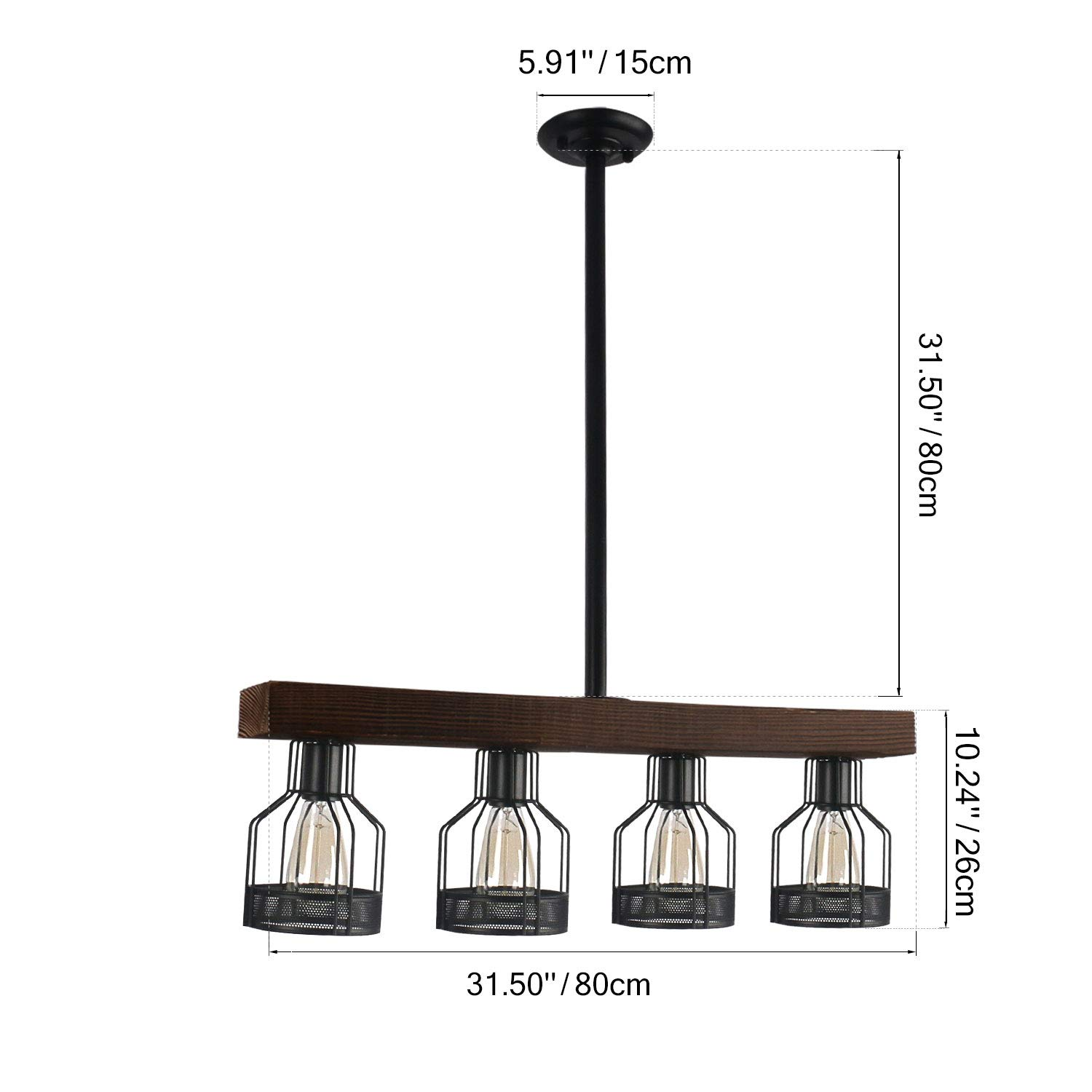 Unitary Brand Vintage Black Metal and Wood Body Cage Shade Kitchen Island Lighting with 4 E26 Bulb Sockets 240W Painted Finish by Unitary (Image #2)