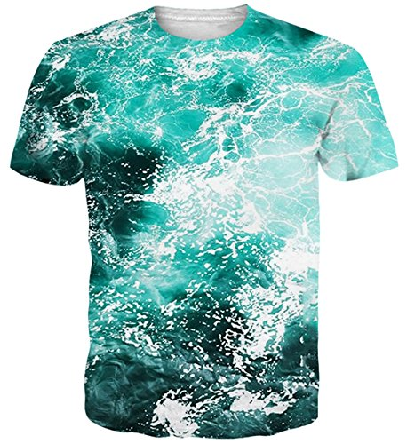 Belovecol Novelty Style 3D Print Sea Short T Shirts Mens Crewneck Tees Blouse Blue ()