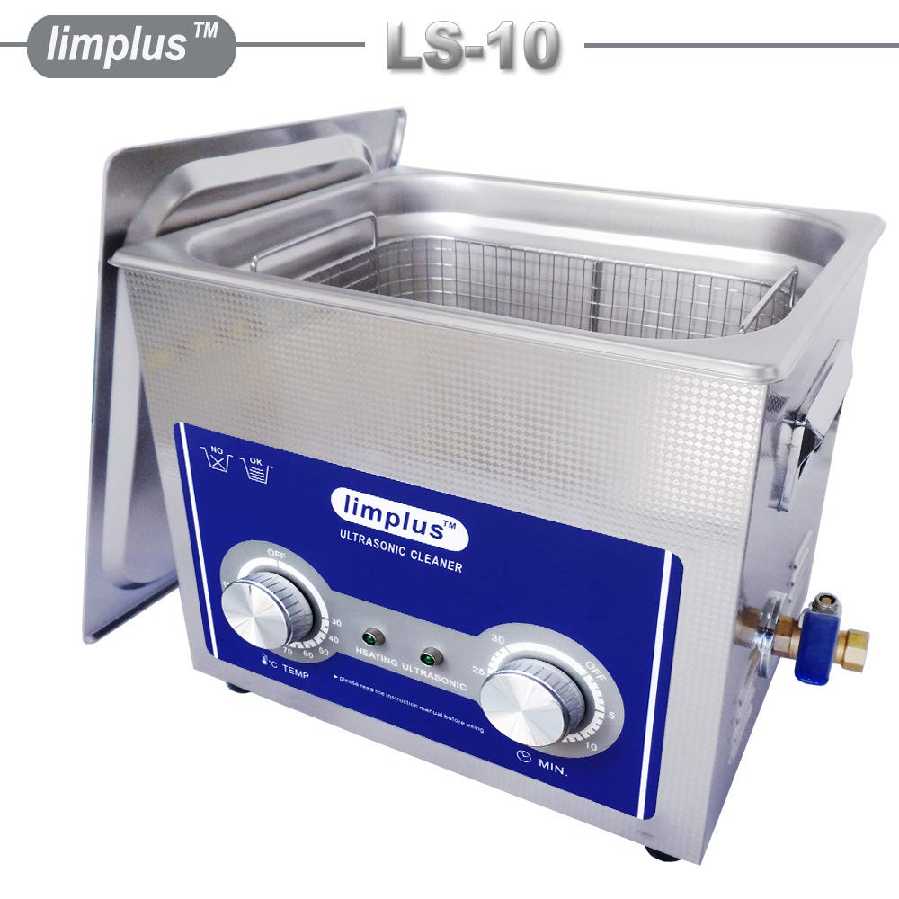 limplus Professional Ultrasonic Cleaner 10liter with Stainless Steel Lid for Jewelry Sunglasses Clean 30minutes Cleaning Time